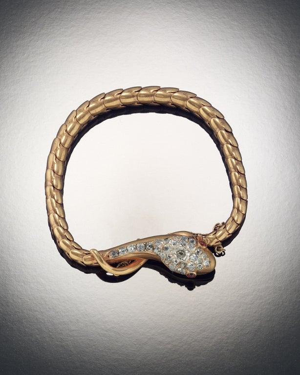 Victorian Ruby Diamond Gold Snake Bracelet 3
