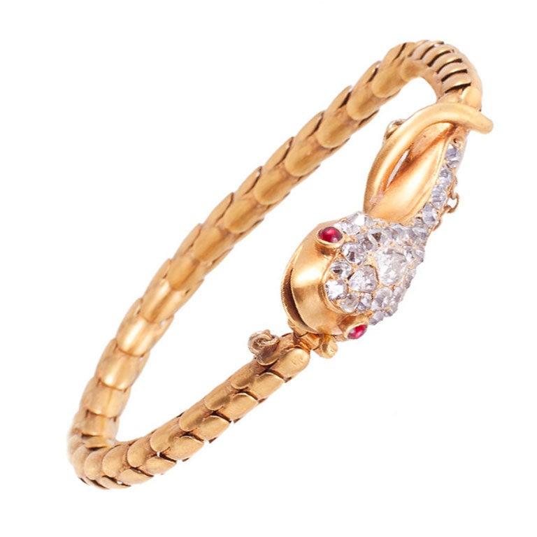Victorian Ruby Diamond Gold Snake Bracelet 1