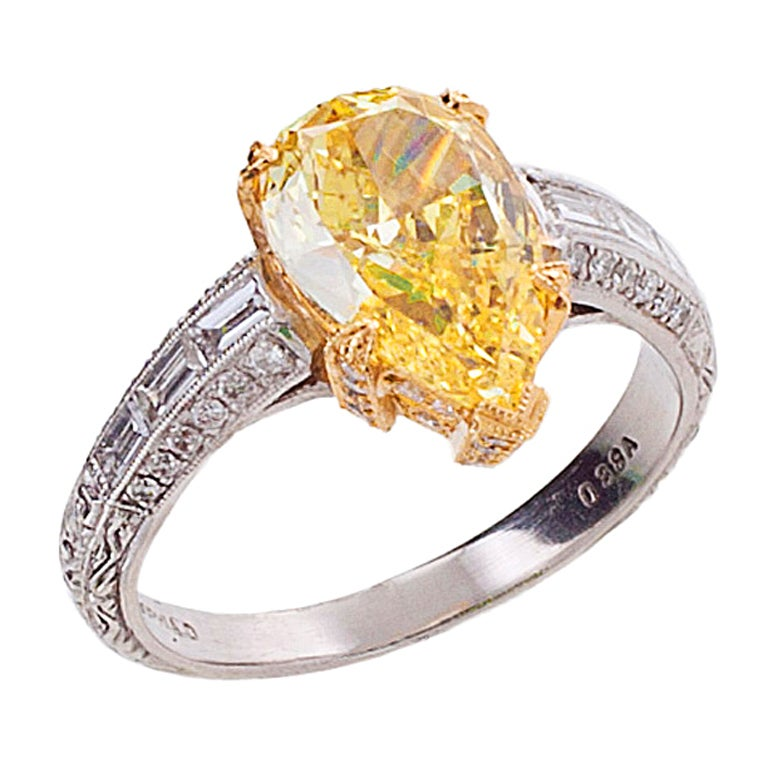 Yellow Gold Diamond Platinum: Fancy Intense Yellow And White Diamond Gold Platinum Ring