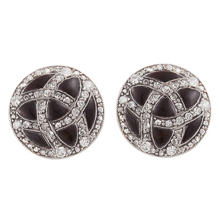 Art Deco Onyx Diamond Platinum Earrings