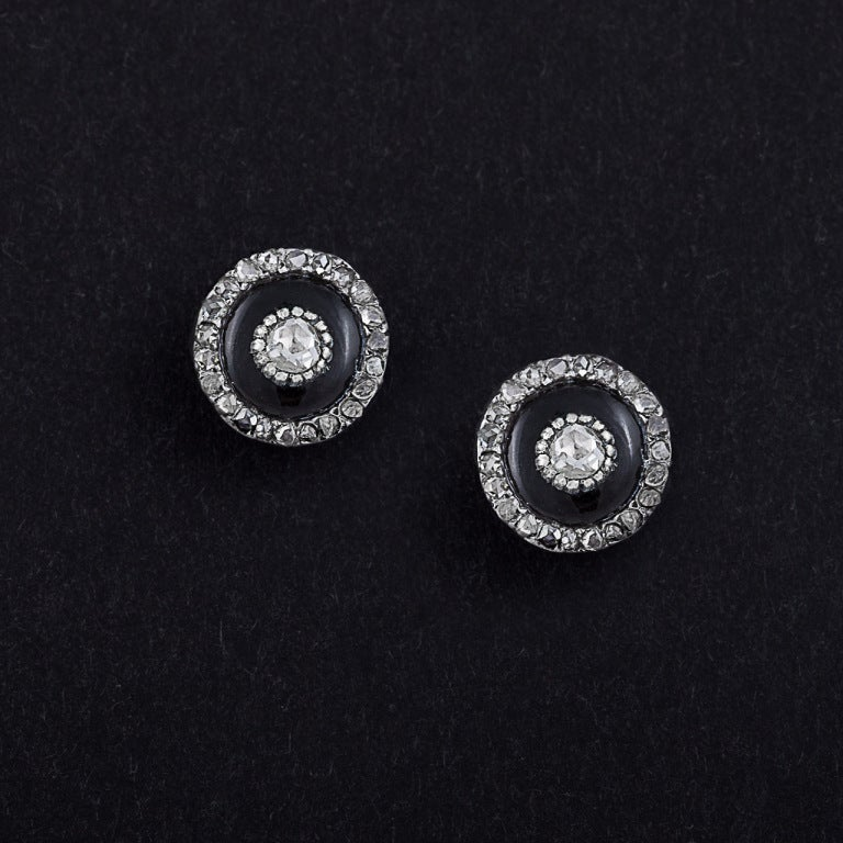 Victorian Onyx, Diamond, Gold & Silver Stud Earrings In Good Condition For Sale In Woodland Hills, CA