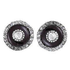 Victorian Onyx, Diamond, Gold & Silver Stud Earrings