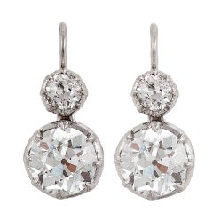 Diamond & Platinum 2-Stone Earrings