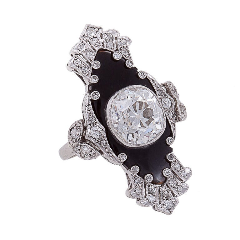 Unique Art Deco Onyx Diamond Platinum Ring 1
