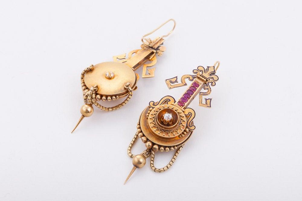 Etruscan Revival Ruby Diamond Gold Pendant Earrings 2