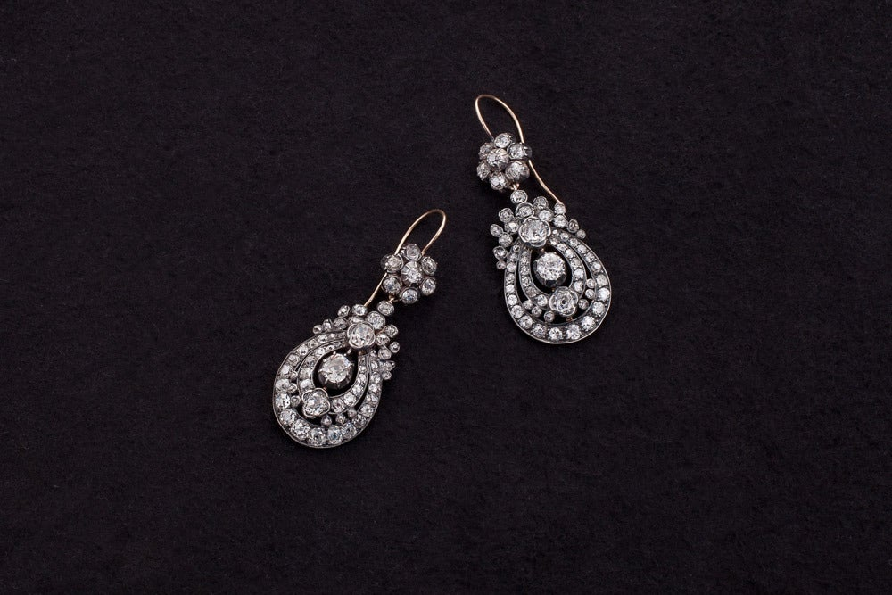 Victorian Diamond Silver Gold Pendant Earrings In Excellent Condition For Sale In Woodland Hills, CA