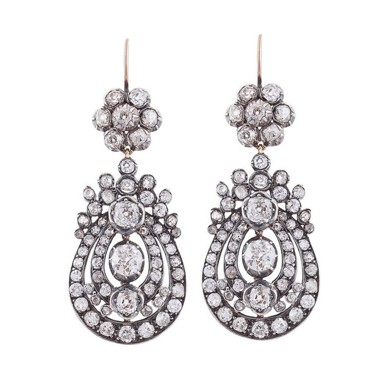 Victorian Diamond Silver Gold Pendant Earrings For Sale