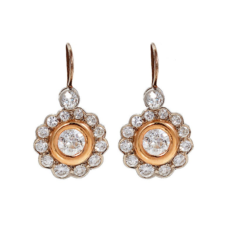 Diamond Yellow and White Gold Flower Earrings For Sale