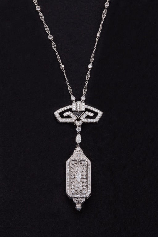 Art Deco Onyx Diamond Platinum Pendant Watch and Chain 2