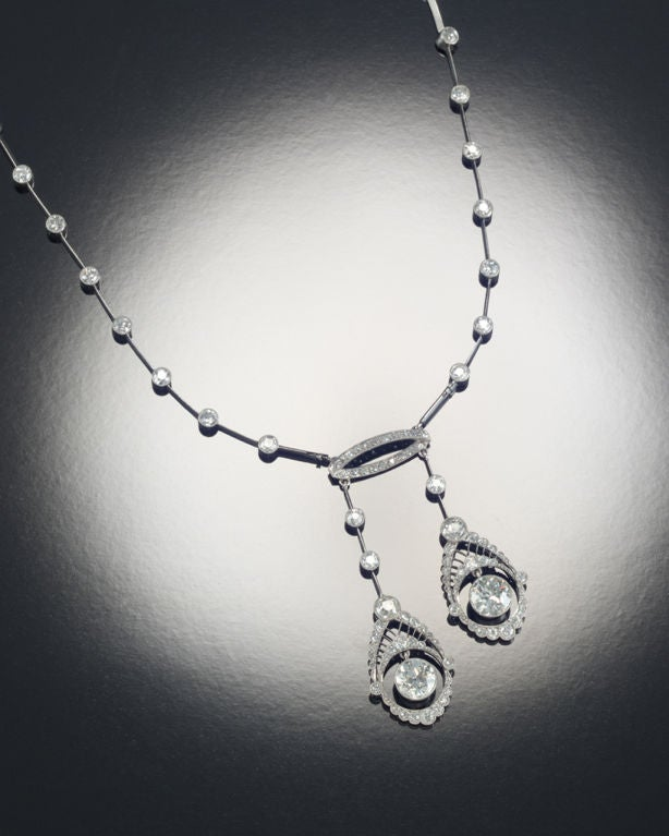 Edwardian 10.05 Carats Diamond Platinum Negligee Necklace 2