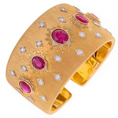 Buccellati Diamond & Ruby Gold Cuff Bracelet