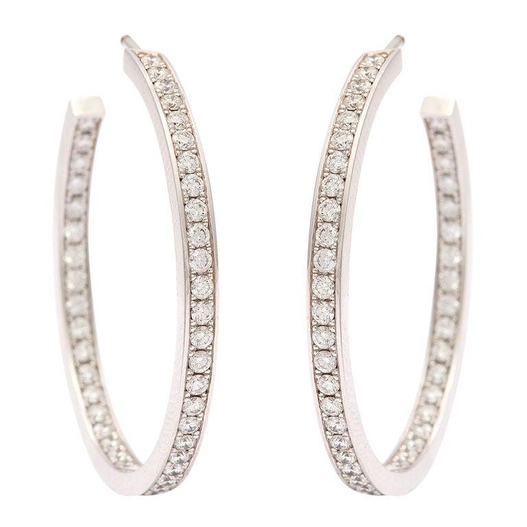 CARTIER New York Diamond Hoop Earrings For Sale