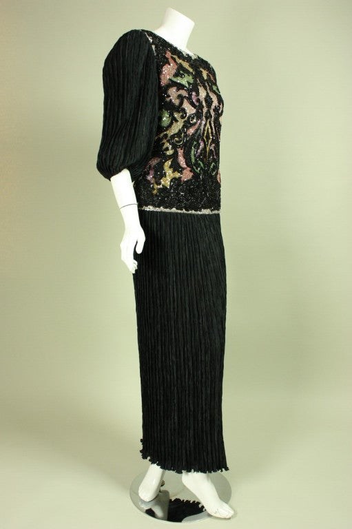 1980's Mary McFadden Beaded Black Gown In Excellent Condition For Sale In Los Angeles, CA