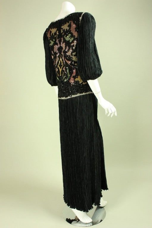 1980's Mary McFadden Beaded Black Gown 4