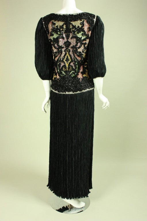 1980's Mary McFadden Beaded Black Gown For Sale 1
