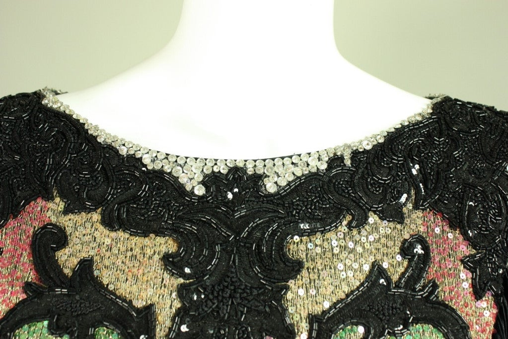 1980's Mary McFadden Beaded Black Gown For Sale 2