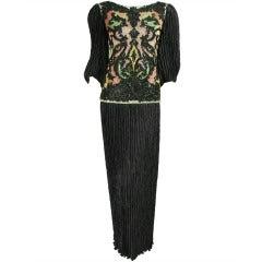 1980's Mary McFadden Beaded Black Gown