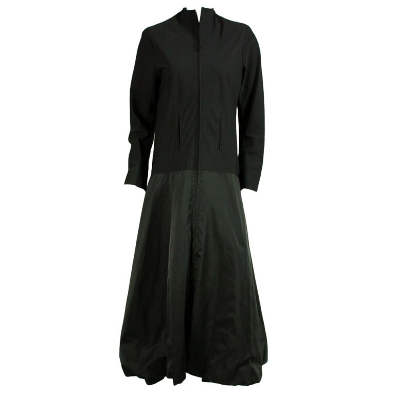 Yohji Yamamoto Black Minimalist Coat Dress