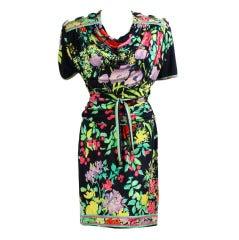 1980's Leonard Ruched Floral Dress