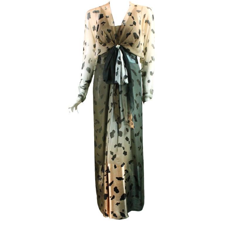 1980's Bill Blass Animal Print Ombre Gown