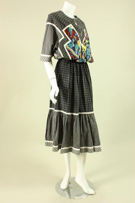 1980's Koos Van Den Akker Cotton Patchwork Dress 2