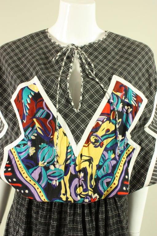 1980's Koos Van Den Akker Cotton Patchwork Dress 5