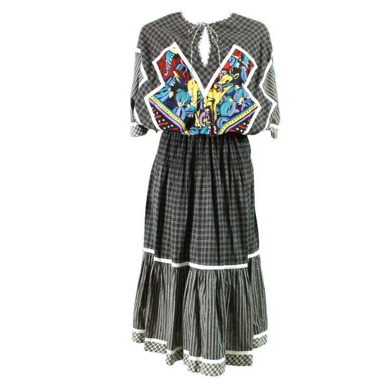 1980's Koos Van Den Akker Cotton Patchwork Dress 1