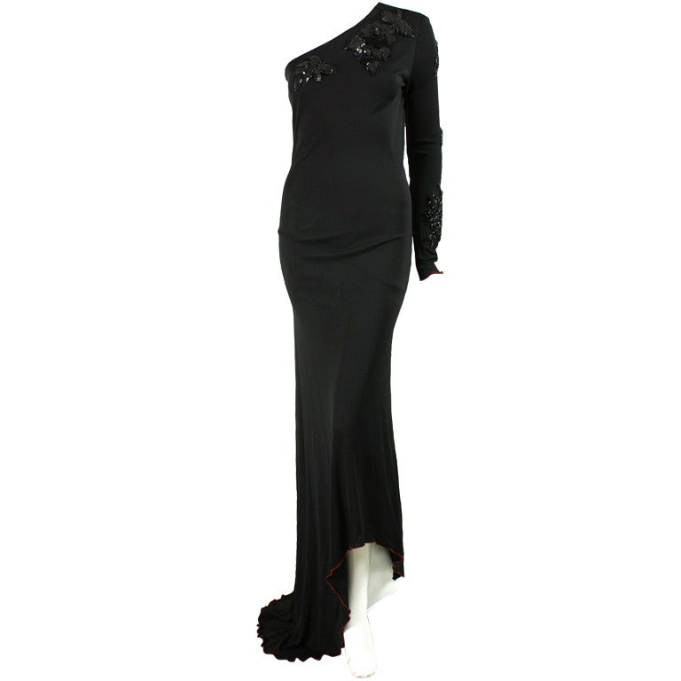 1970's Stephen Burrows One-Shouldered Gown