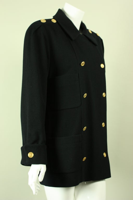 Chanel Military Style Double Breasted Wool Pea Coat At 1stdibs