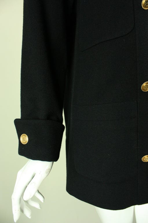 Chanel Military-Style Double-Breasted Wool Pea Coat 6