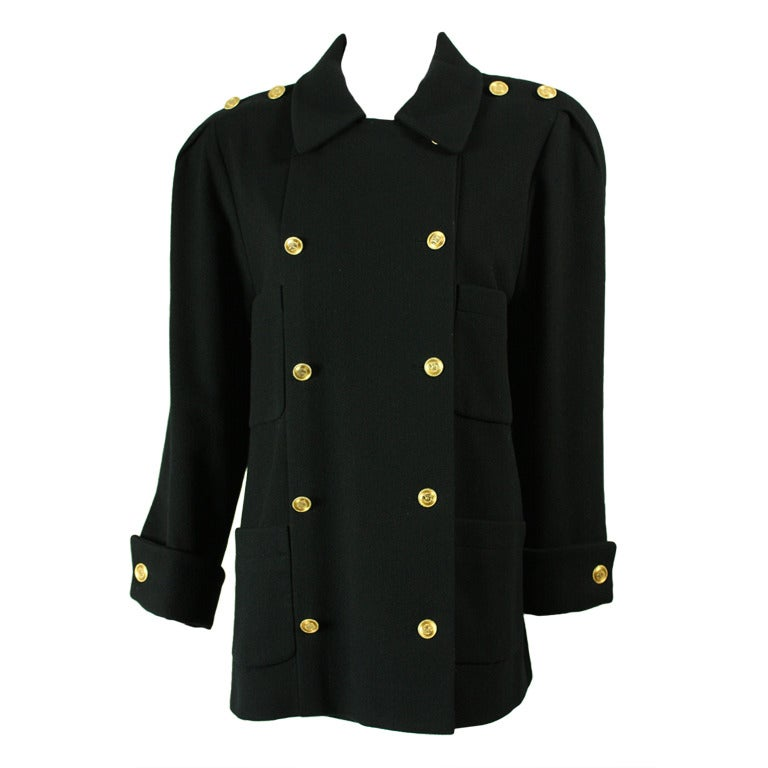 Chanel Military-Style Double-Breasted Wool Pea Coat 1