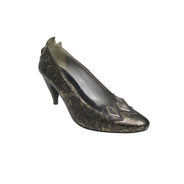 El Vaquero Black & Gold Snakeskin Pumps with Stud Detail
