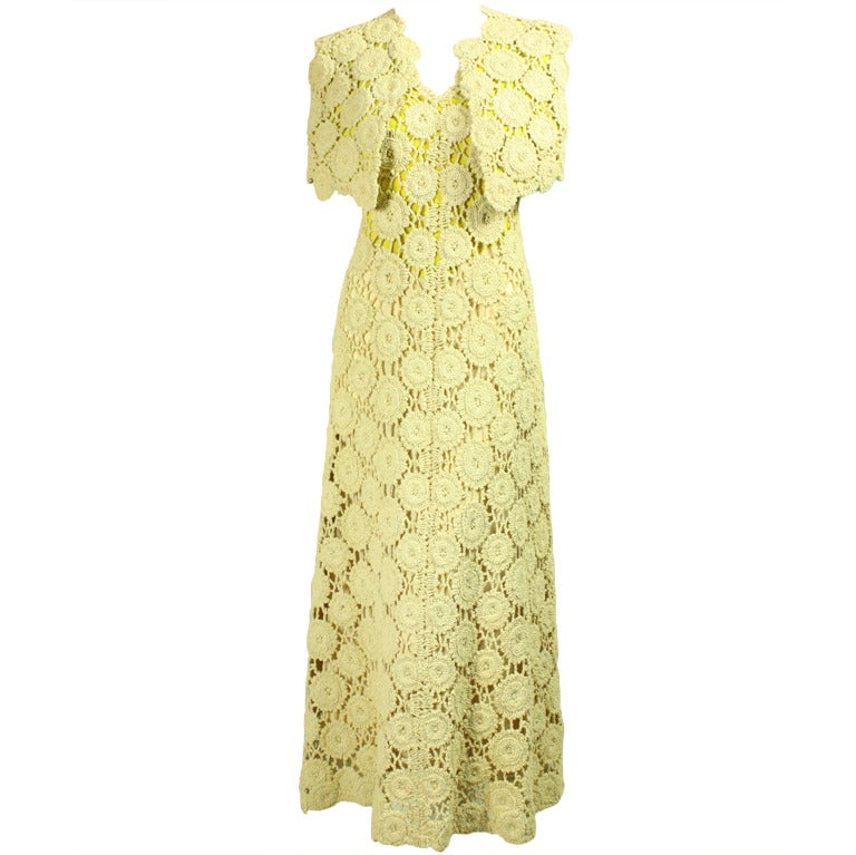 Pauline Trigere Crochet Gown with Bolero, 1970s