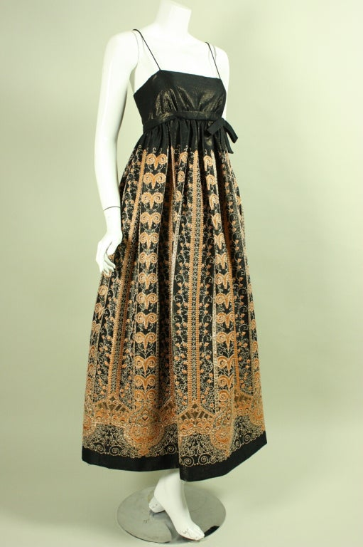 1960's Brocade Gown with Empire Waistline 2