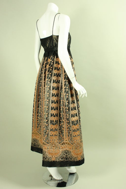 1960's Brocade Gown with Empire Waistline 3