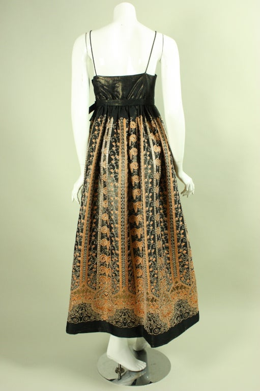 1960's Brocade Gown with Empire Waistline 4