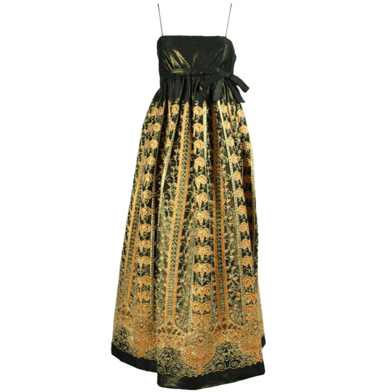 1960's Brocade Gown with Empire Waistline 1