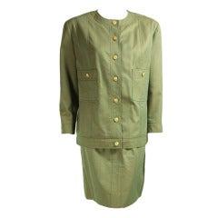 1980's Chanel Sharkskin Skirt Suit