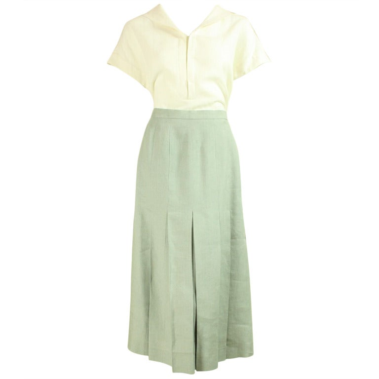 Chanel Cream and Mint Greeen Linen Ensemble For Sale