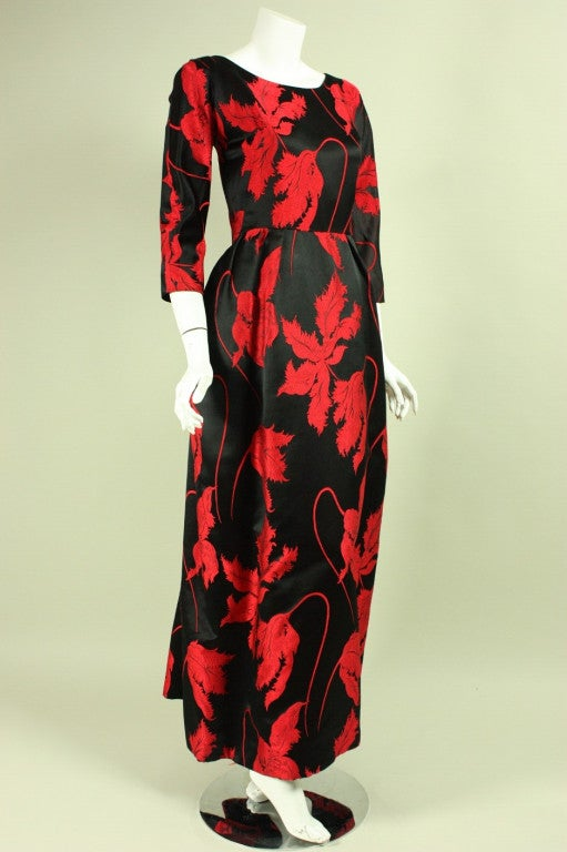 1960's Jean Louis Red & Black Satin Gown 2