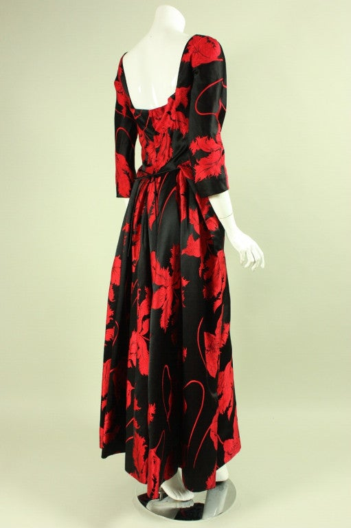 1960's Jean Louis Red & Black Satin Gown 3