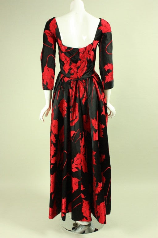 1960's Jean Louis Red & Black Satin Gown 4