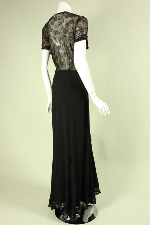 1940's Black Crepe Gown with Metallic Embroidery In Good Condition For Sale In Los Angeles, CA