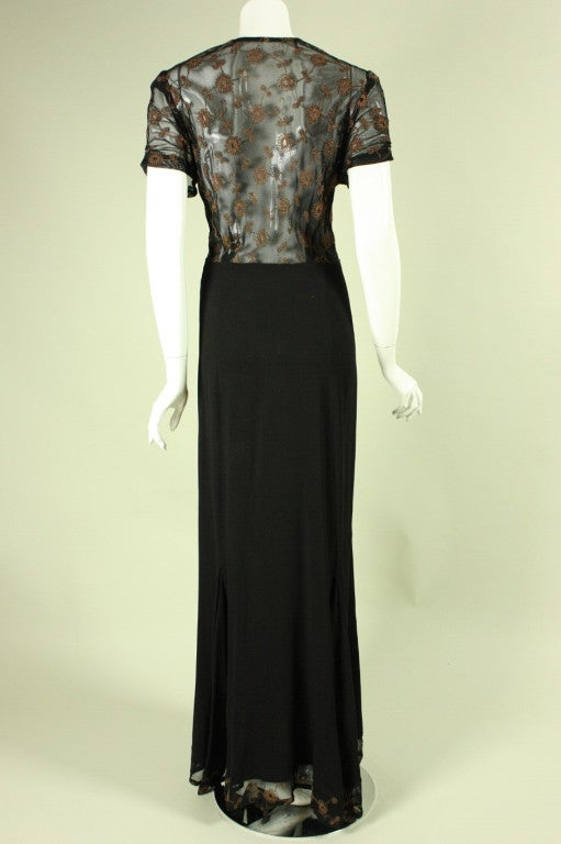 Women's 1940's Black Crepe Gown with Metallic Embroidery For Sale
