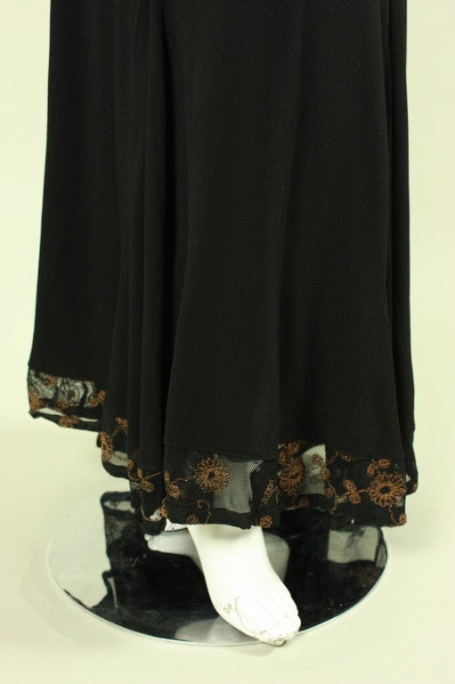 1940's Black Crepe Gown with Metallic Embroidery For Sale 3