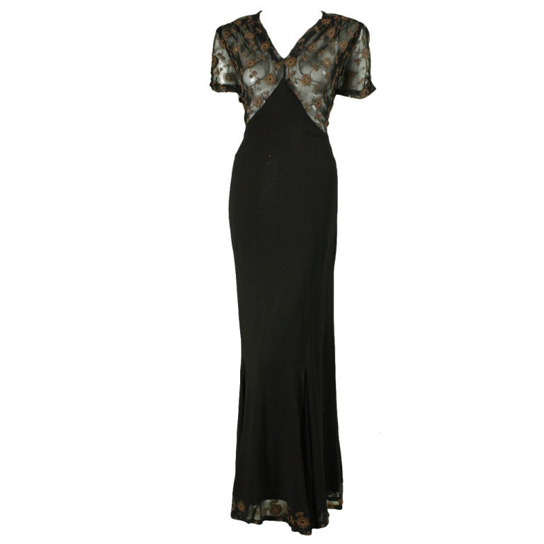 1940's Black Crepe Gown with Metallic Embroidery For Sale