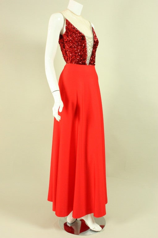 1970's Mr. Blackwell Red Sequined Illusion Gown 2