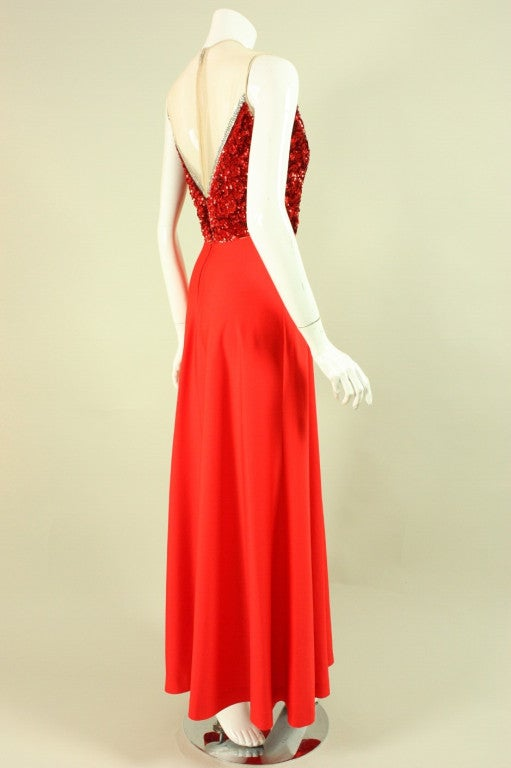 1970's Mr. Blackwell Red Sequined Illusion Gown 3