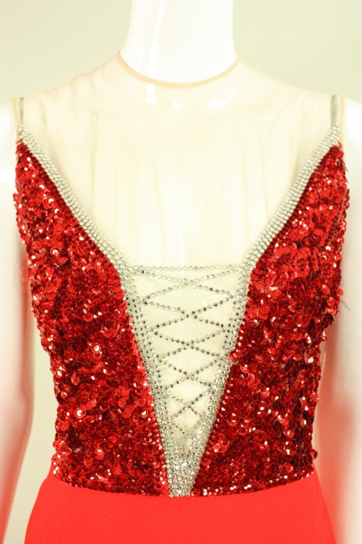 1970's Mr. Blackwell Red Sequined Illusion Gown 5