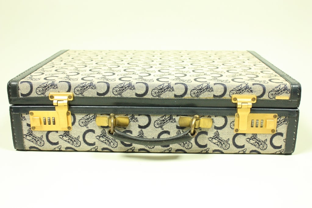 Women's or Men's 1970's Celine Monogrammed Suitcase For Sale
